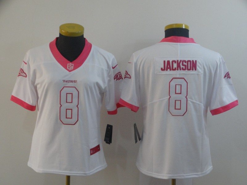 Nike Ravens 8 LaMar Jackson White Pink Women Vapor Untouchable Limited Jersey