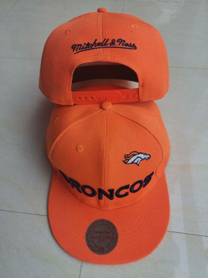 Broncos Team Logo Orange Mitchell & Ness Adjustable Hat LT