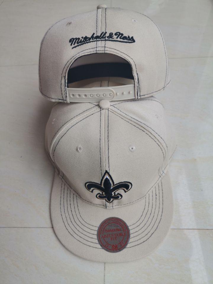 Saints Team Logo White Mitchell & Ness Adjustable Hat LT