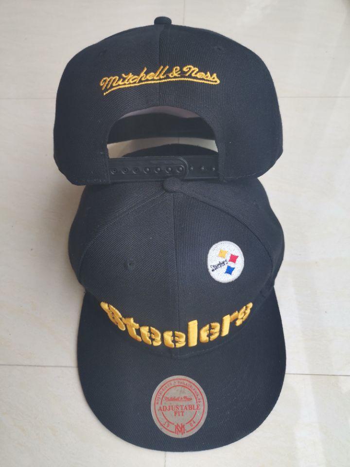 Steelers Team Logo Black Mitchell & Ness Adjustable Hat LT