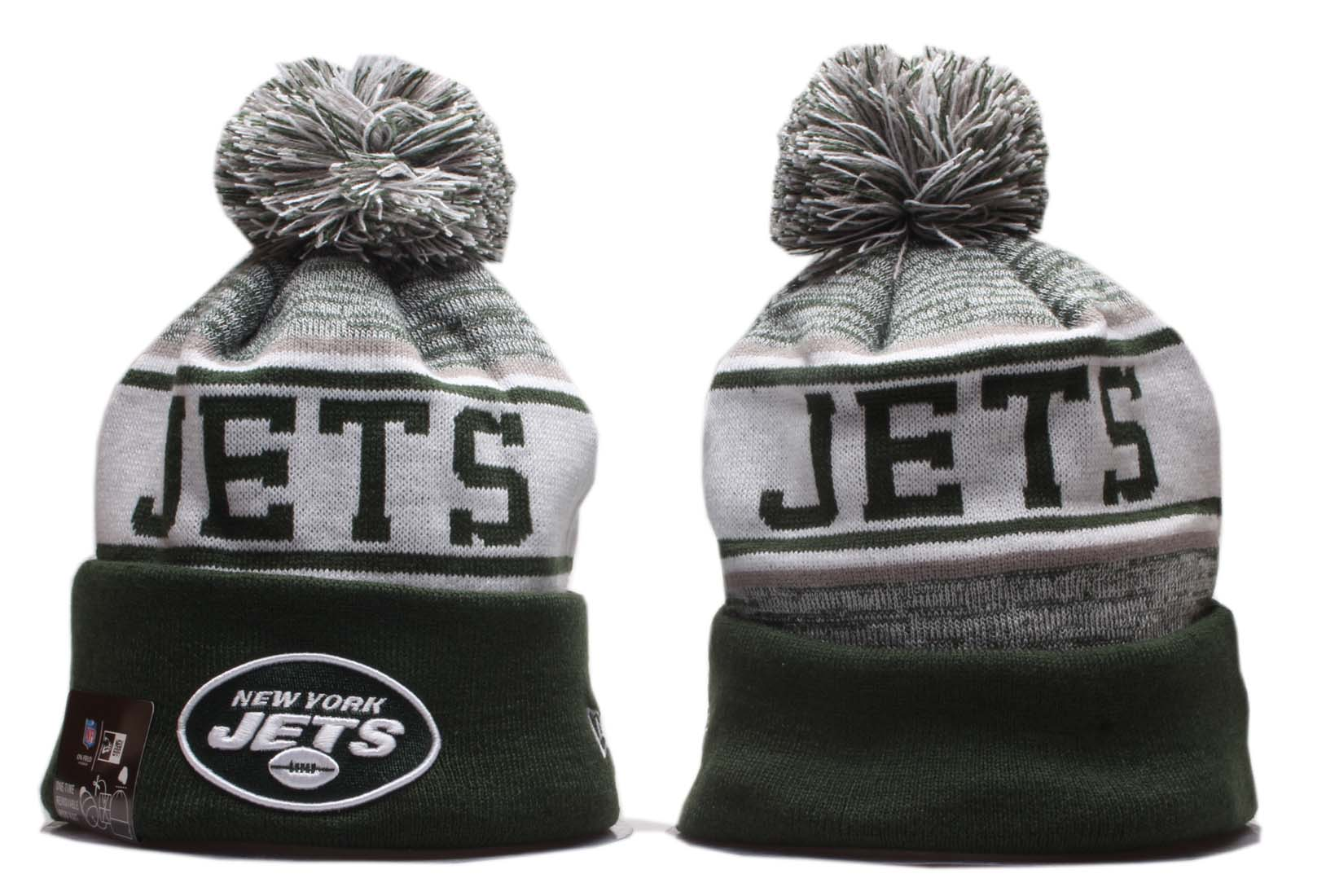Jets Team Logo Green Pom Knit Hat YD