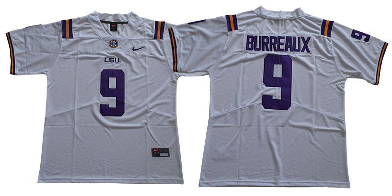 LSU Tigers 9 Joe Burreaux White Nike College Football Jersey
