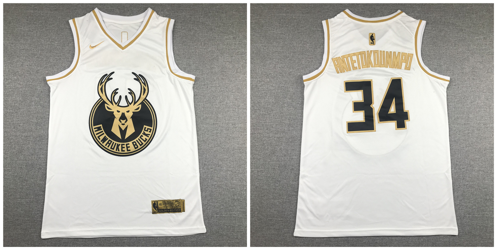 Bucks 34 Giannis Antetokounmpo White Gold Nike Swingman Jersey