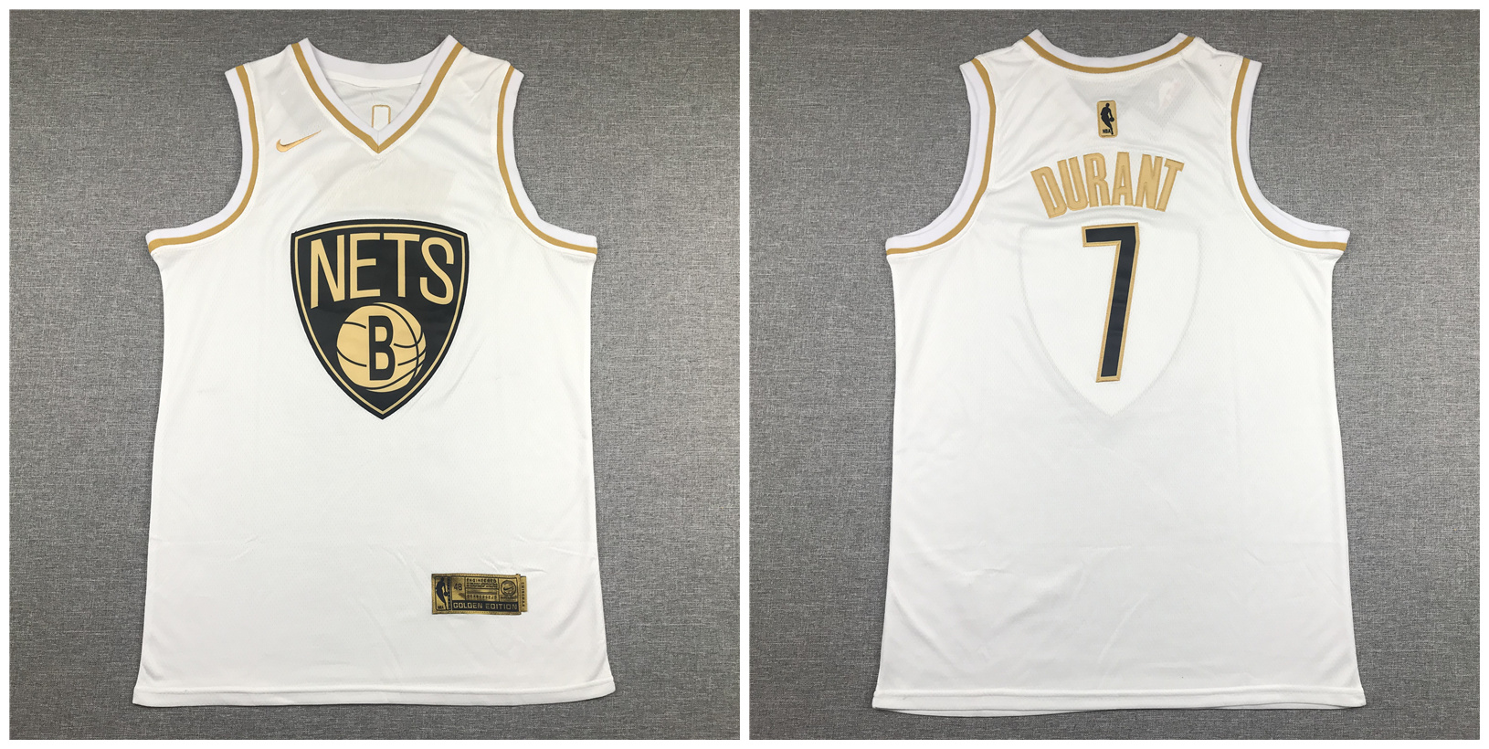 Nets 7 Kevin Durant White Gold Swingman Jersey
