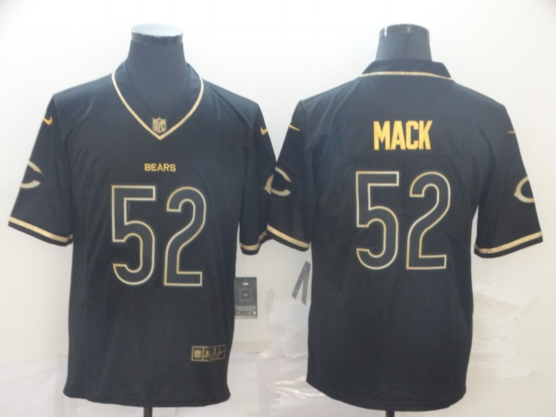 Nike Bears 52 Khalil Mack Black Gold Throwback Vapor Untouchable Limited Jersey