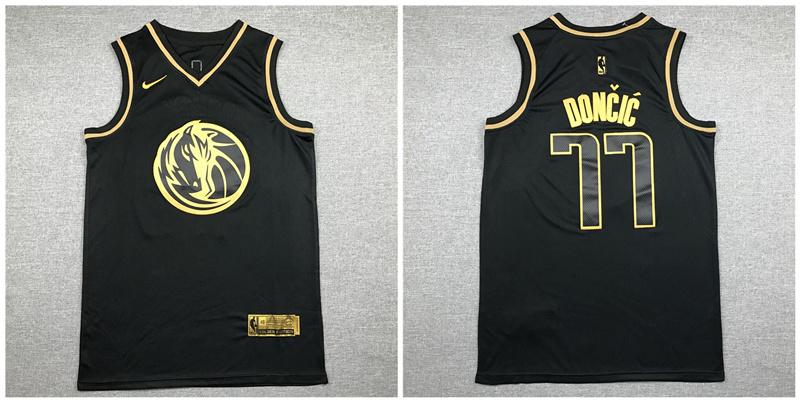 Mavericks 77 Luka Doncic Black Gold Nike Swingman Jersey