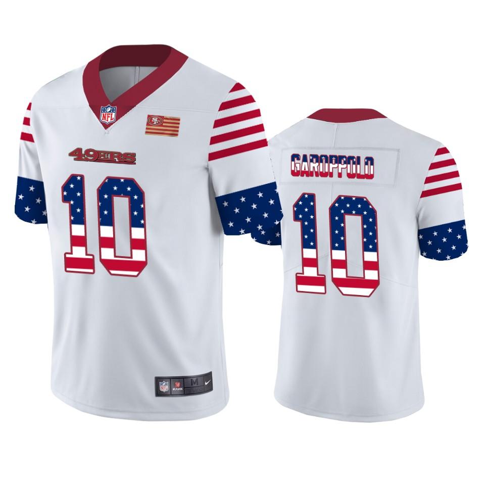 Nike 49ers 10 Jimmy Garoppolo White USA Flag Fashion Limited Jersey