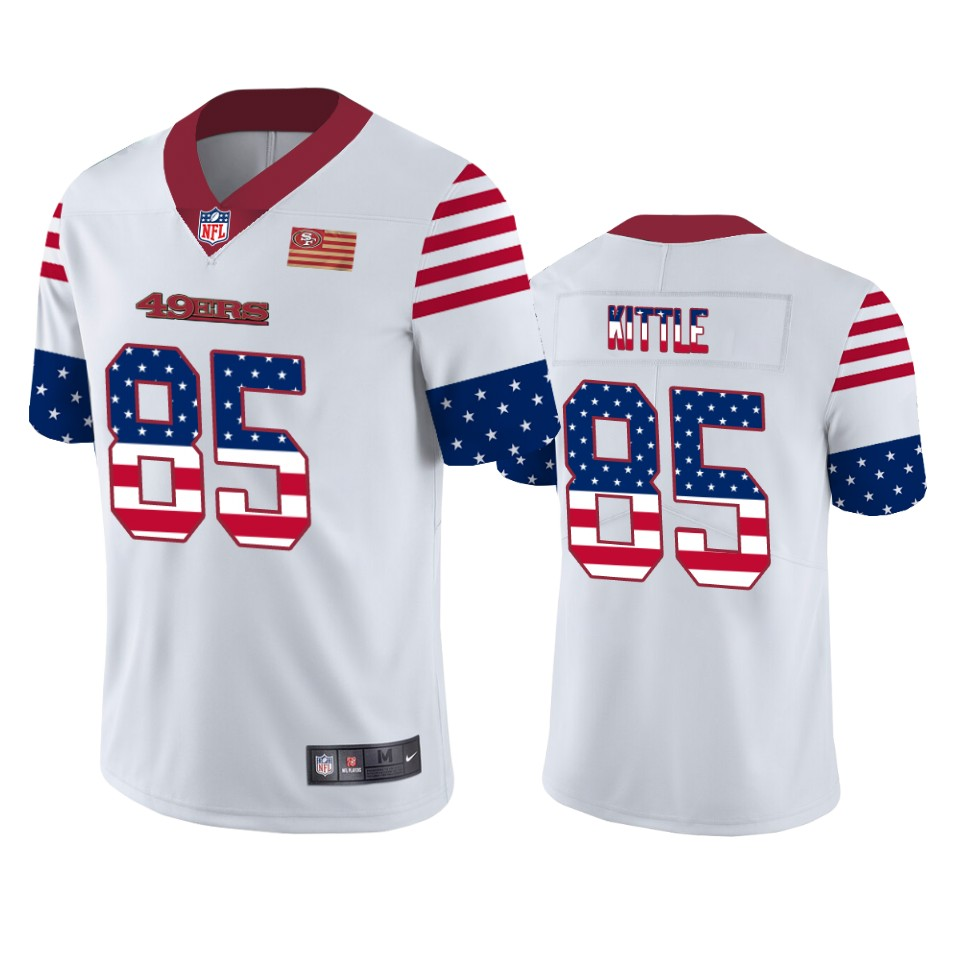 Nike 49ers 85 George Kittle White USA Flag Fashion Limited Jersey