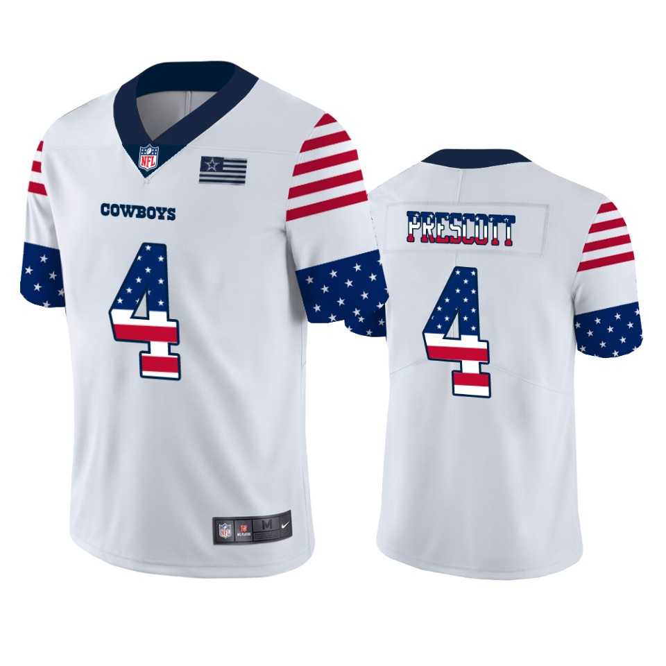 Nike Cowboys 4 Dak Prescott White USA Flag Fashion Limited Jersey