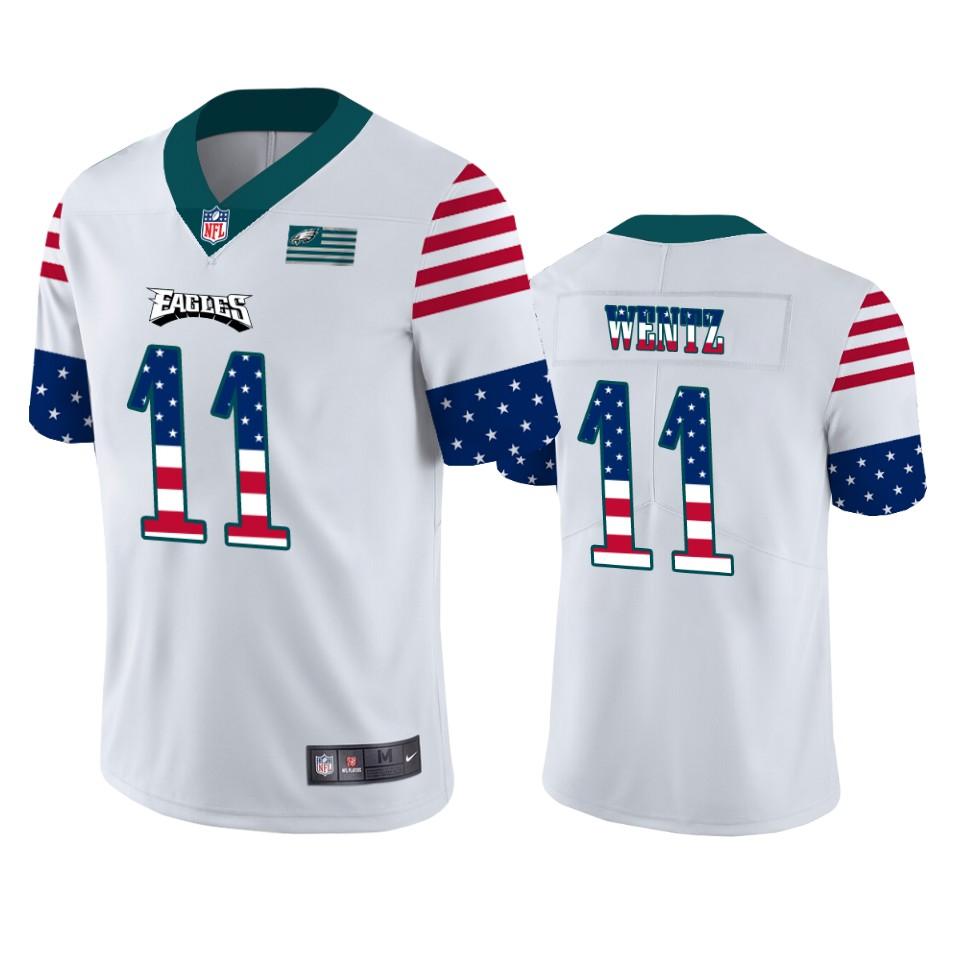 Nike Eagles 11 Carson Wentz White USA Flag Fashion Limited Jersey