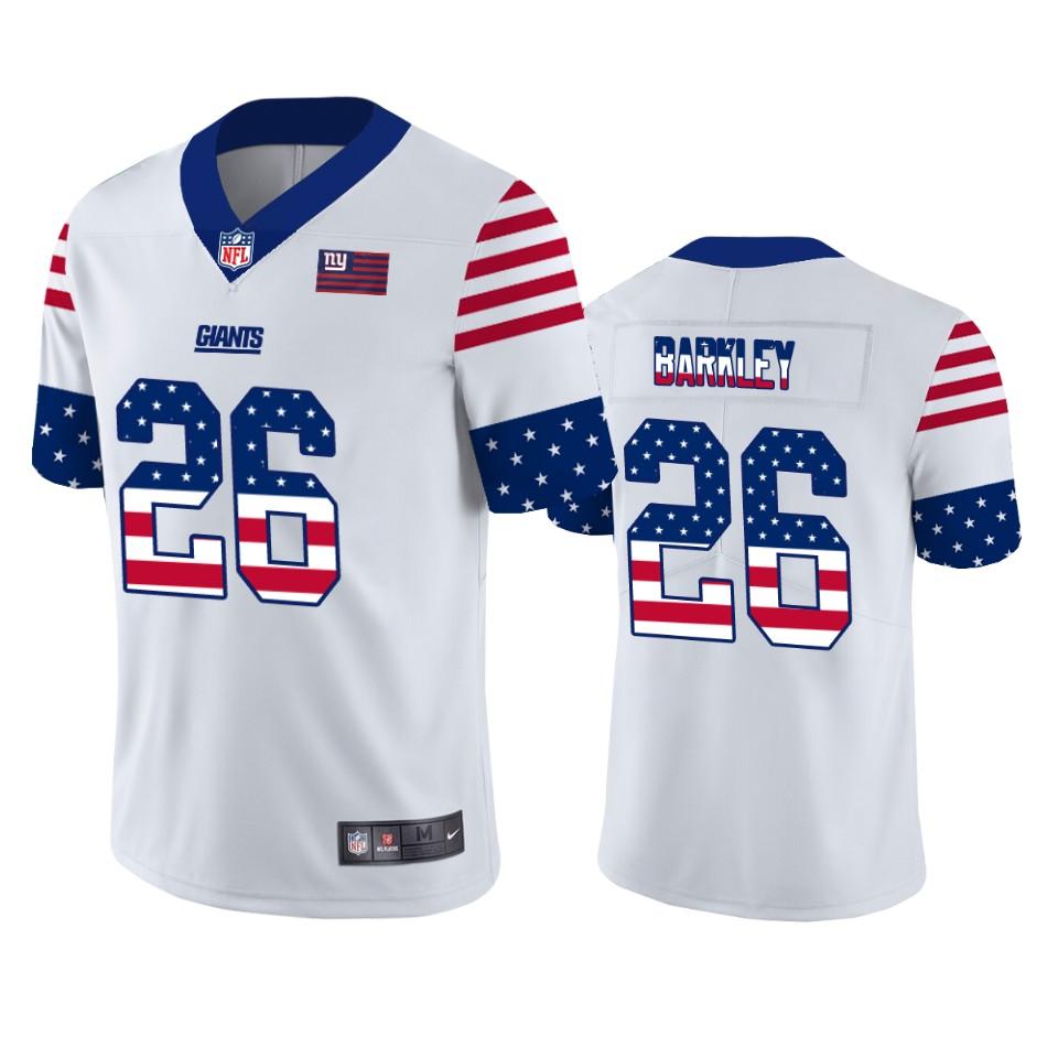 Nike Giants 26 Saquon Barkley White USA Flag Fashion Limited Jersey
