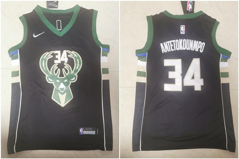 Bucks 34 Giannis Antetokounmpo Black Youth Nike Swingman Jersey
