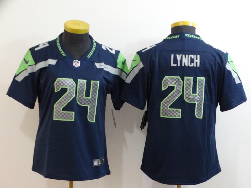 Nike Seahawks 24 Marshawn Lynch Navy Women Vapor Untouchable Limited Jersey