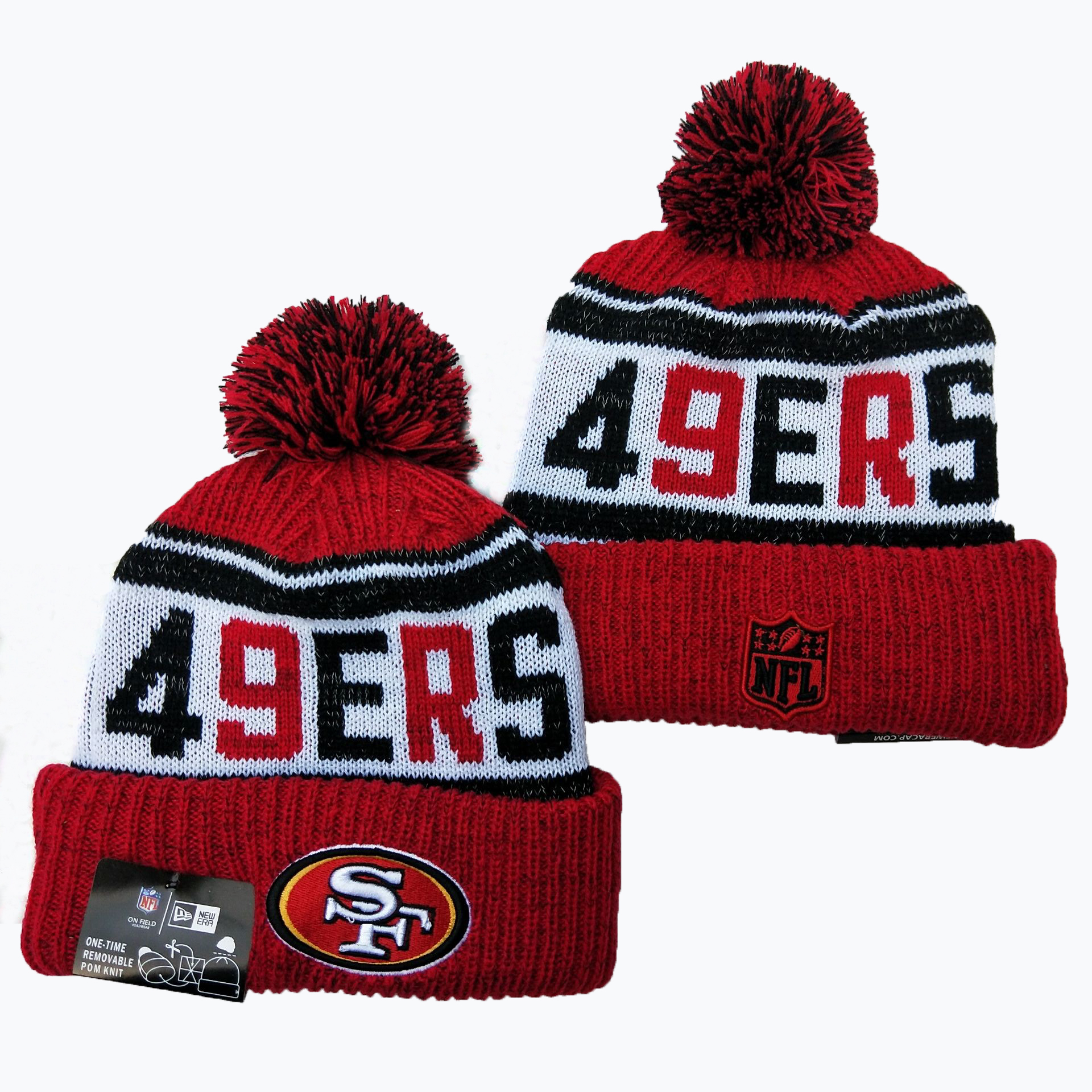 49ers Team Logo Red Pom Knit Hat YD
