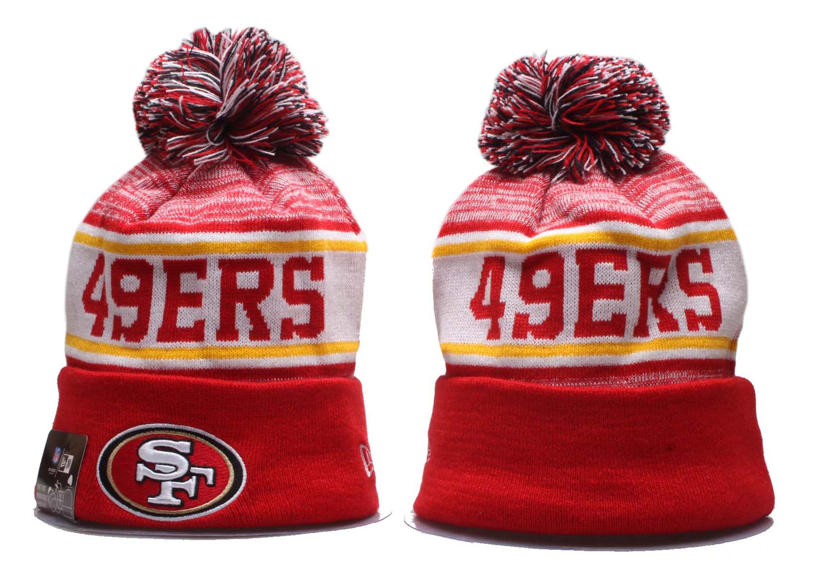 49ers Team Logo Red Wordmark Cuffed Pom Knit Hat YP