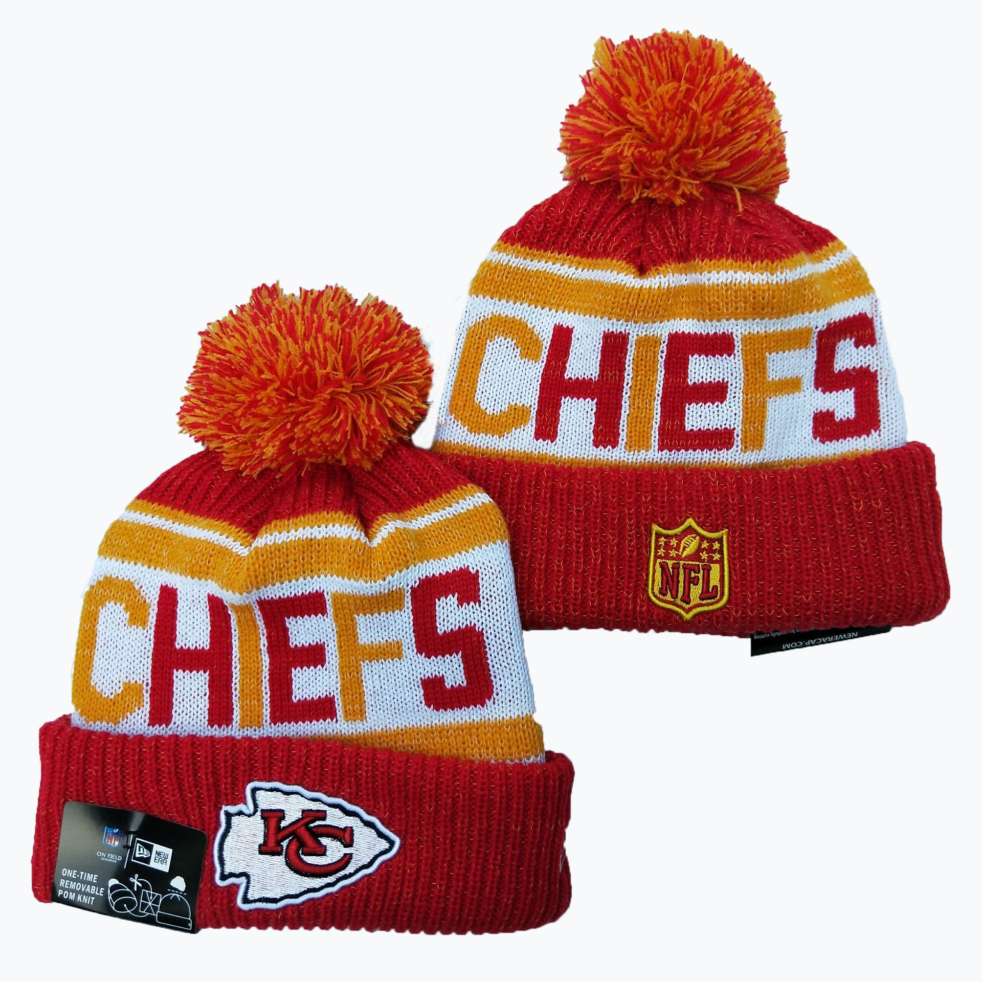Chiefs Team Logo Red Pom Knit Hat YD