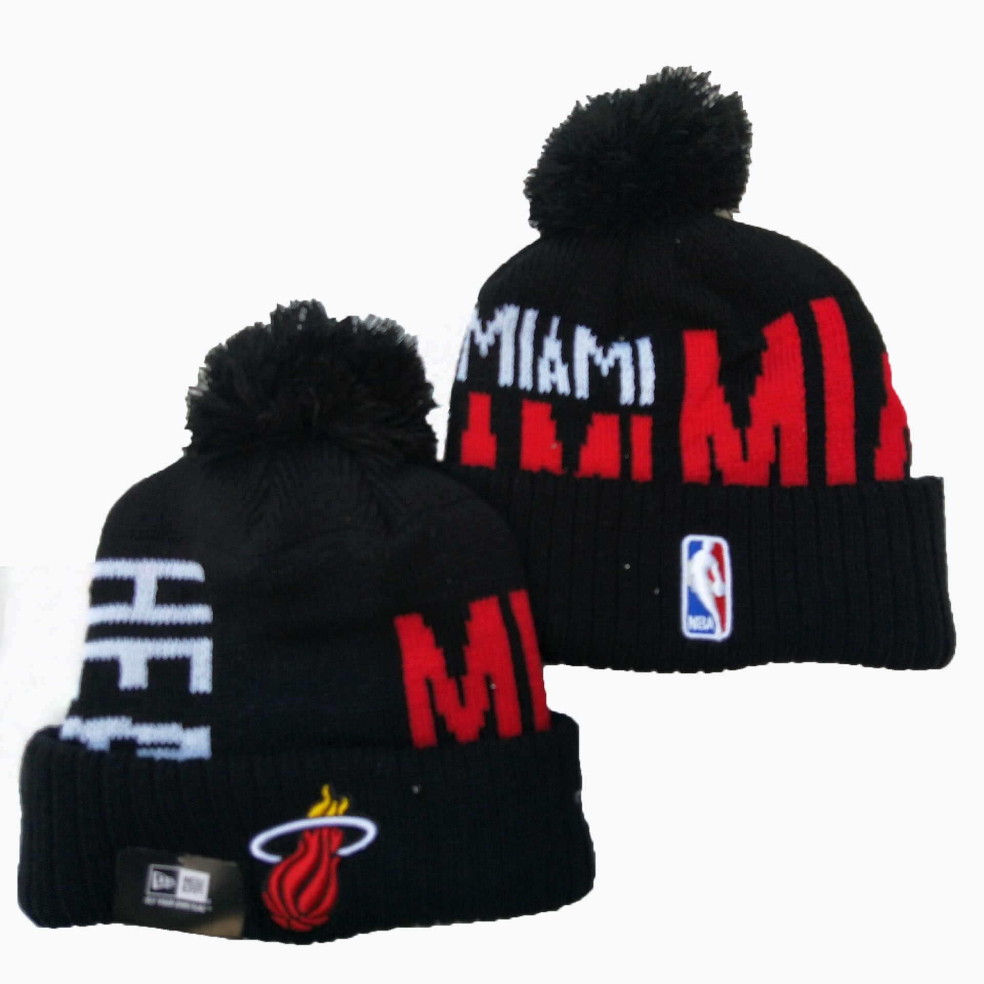 Heat Team Logo Black Pom Knit Hat YD