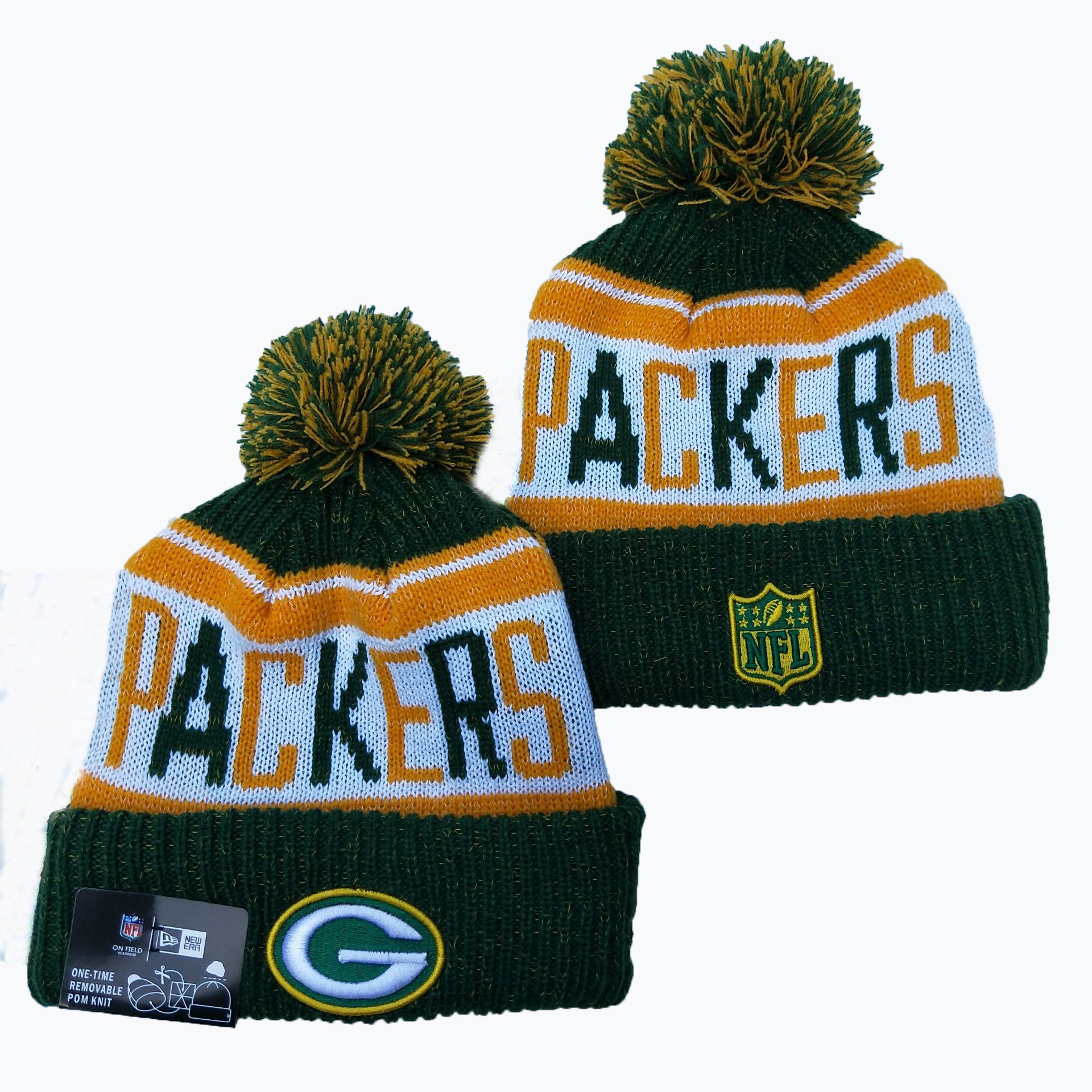 Packers Team Logo Green Pom Knit Hat YD