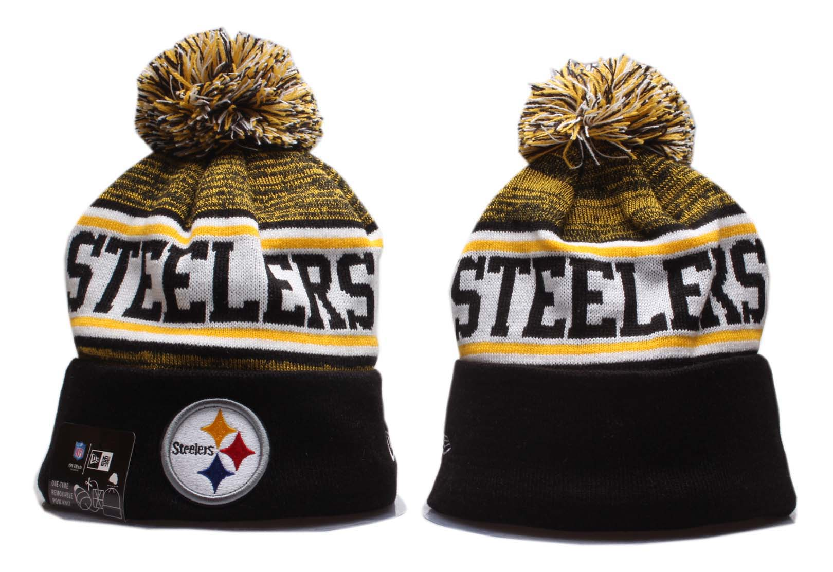 Steelers Team Logo Black Yellow Wordmark Cuffed Pom Knit Hat YP