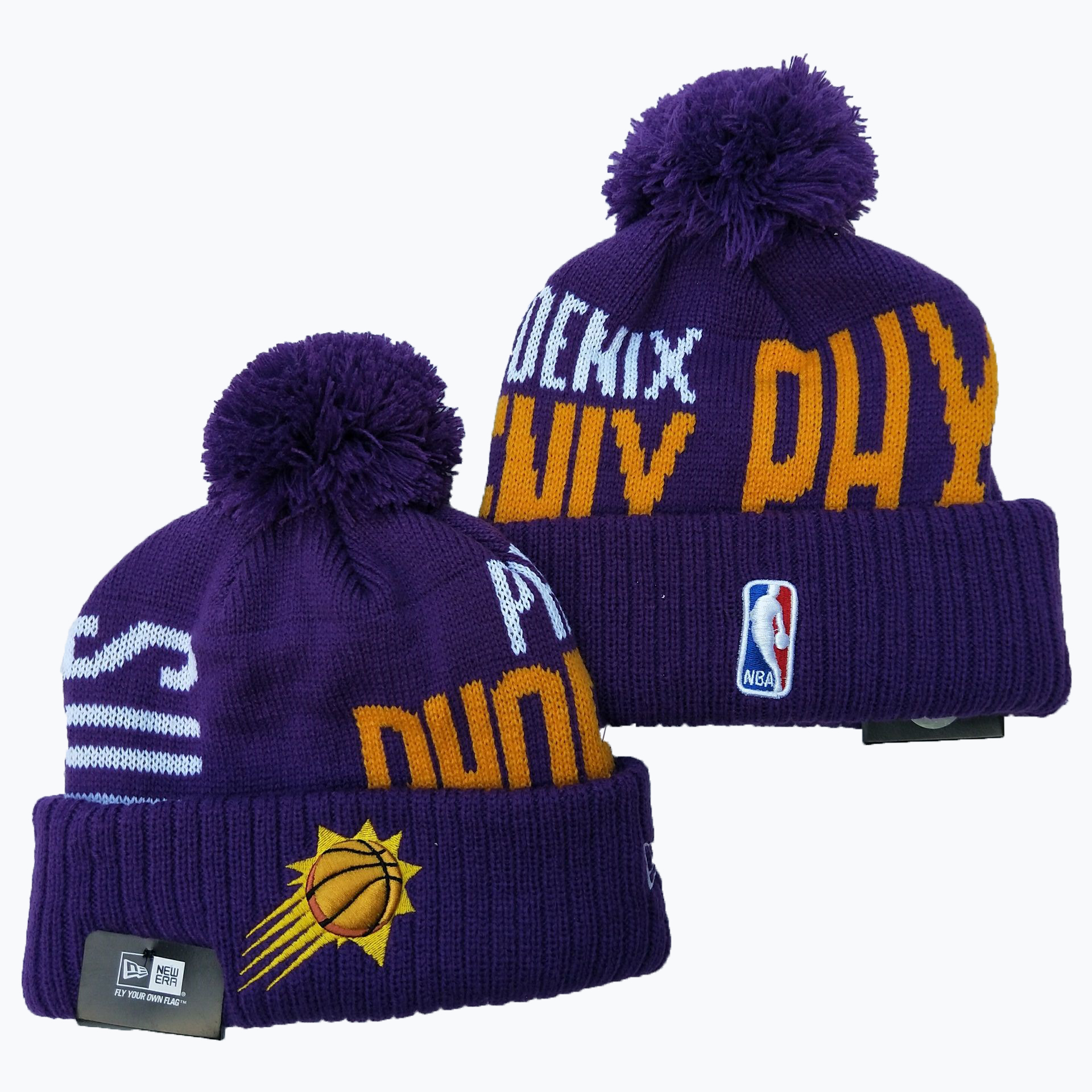 Suns Team Logo Purple Pom Knit Hat YD