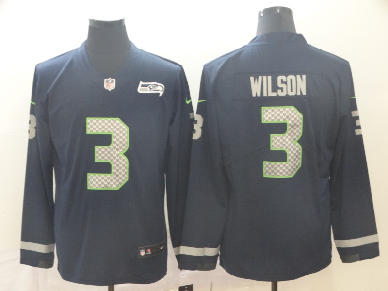 Nike Seahawks 3 Russell Wilson Navy Therma Long Sleeve Jersey