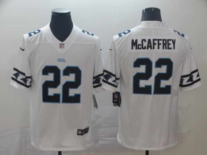Nike Panthers 22 Christian McCaffrey White Team Logos Fashion Vapor Limited Jersey