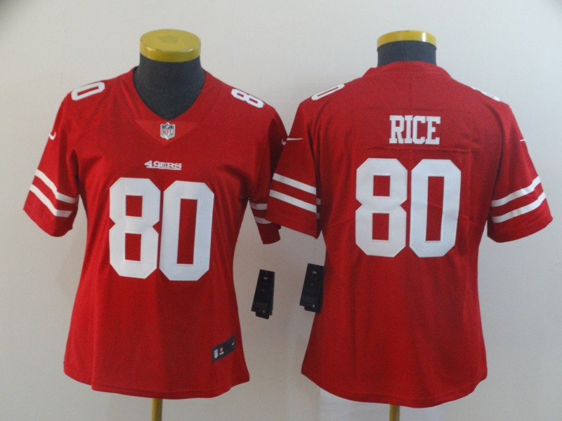 Nike 49ers 80 Jerry Rice Red Women Vapor Untouchable Limited Jersey