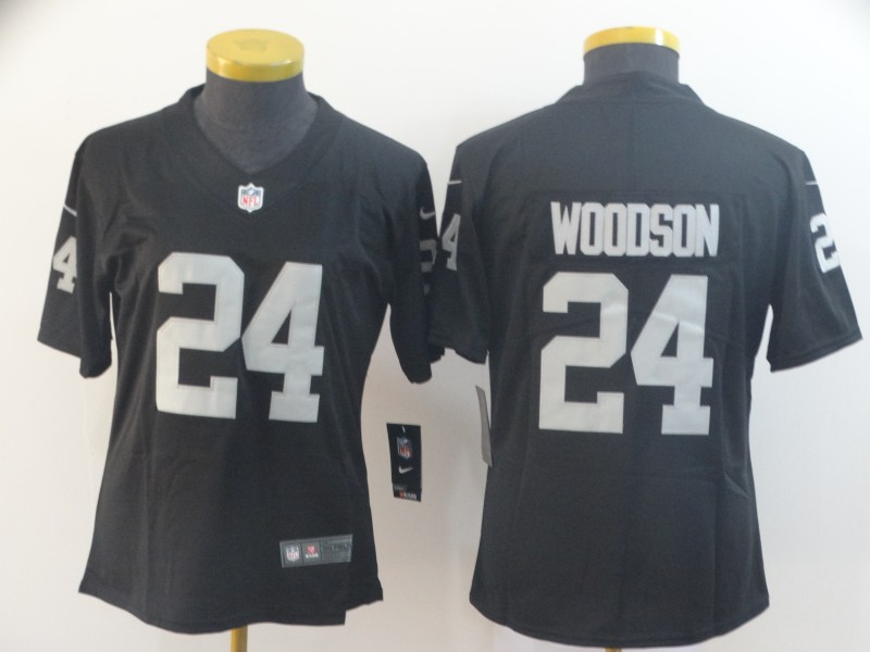 Nike Raiders 24 Charles Woodson Black Women Vapor Untouchable Limited Jersey