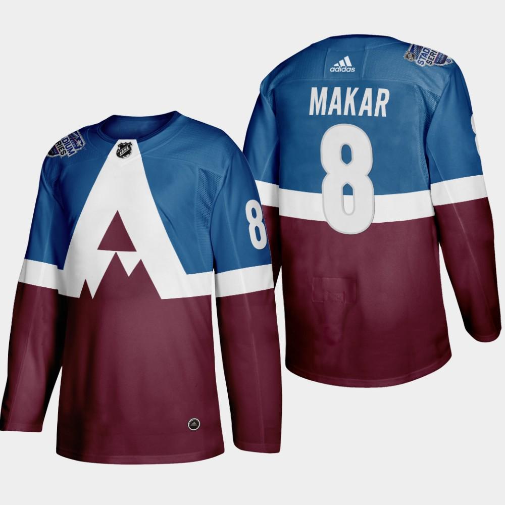 Avalanche 8 Cale Makar Blue Red 2020 NHL Stadium Series Adidas Jersey