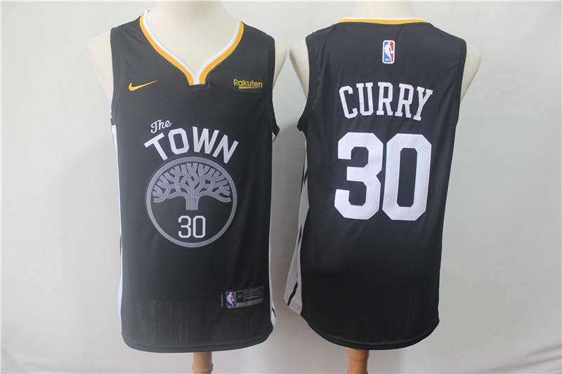 Warriors 30 Stephen Curry Black 2018-19 Earned Edition Nike Swingman Jersey