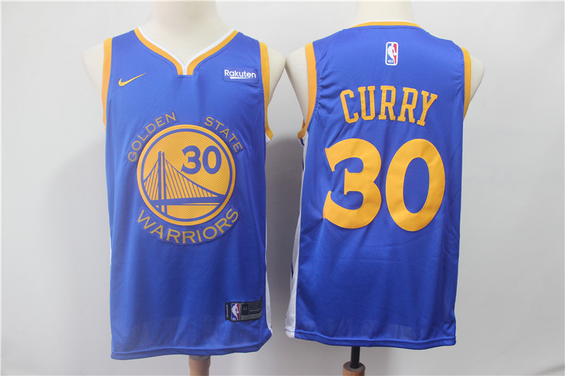 Warriors 30 Stephen Curry Blue 2018-19 Earned Edition Nike Swingman Jersey
