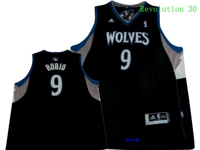 Timberwolves 9 Ricky Rubio Black Revolution 30 Jersey