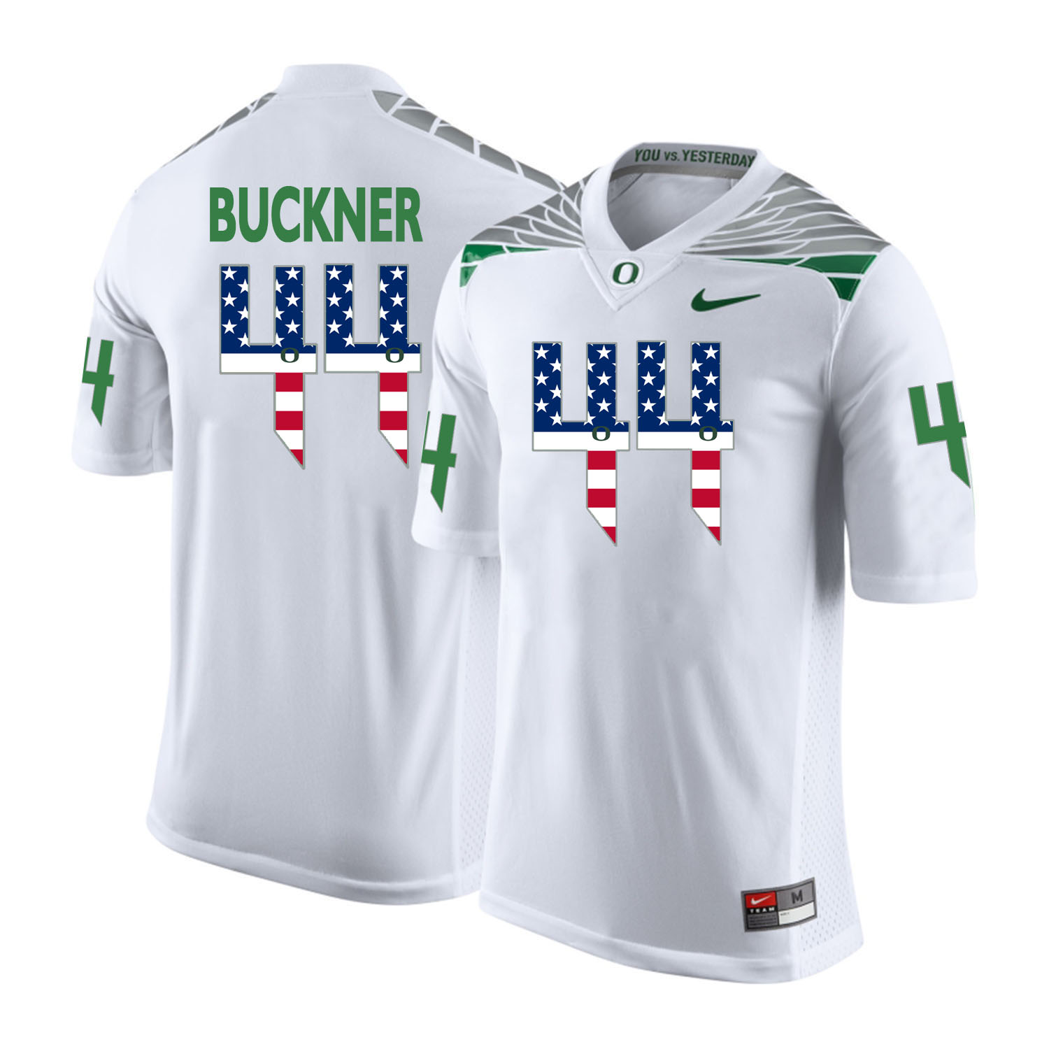 Oregon Ducks 44 DeForest Buckner White USA Flag College Football Jersey