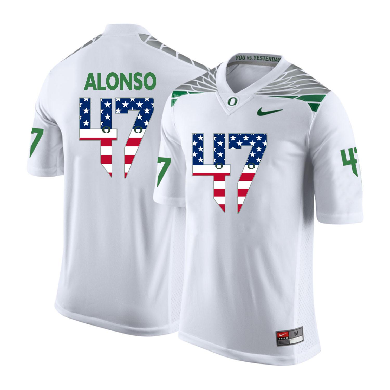 Oregon Ducks 47 Kiko Alonso White USA Flag College Football Jersey