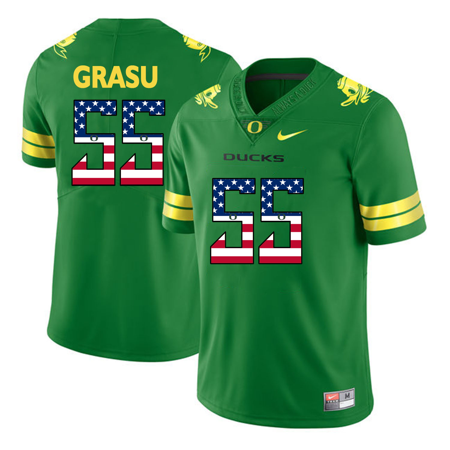 Oregon Ducks 55 Hroniss Grasu Apple Green USA Flag College Football Jersey