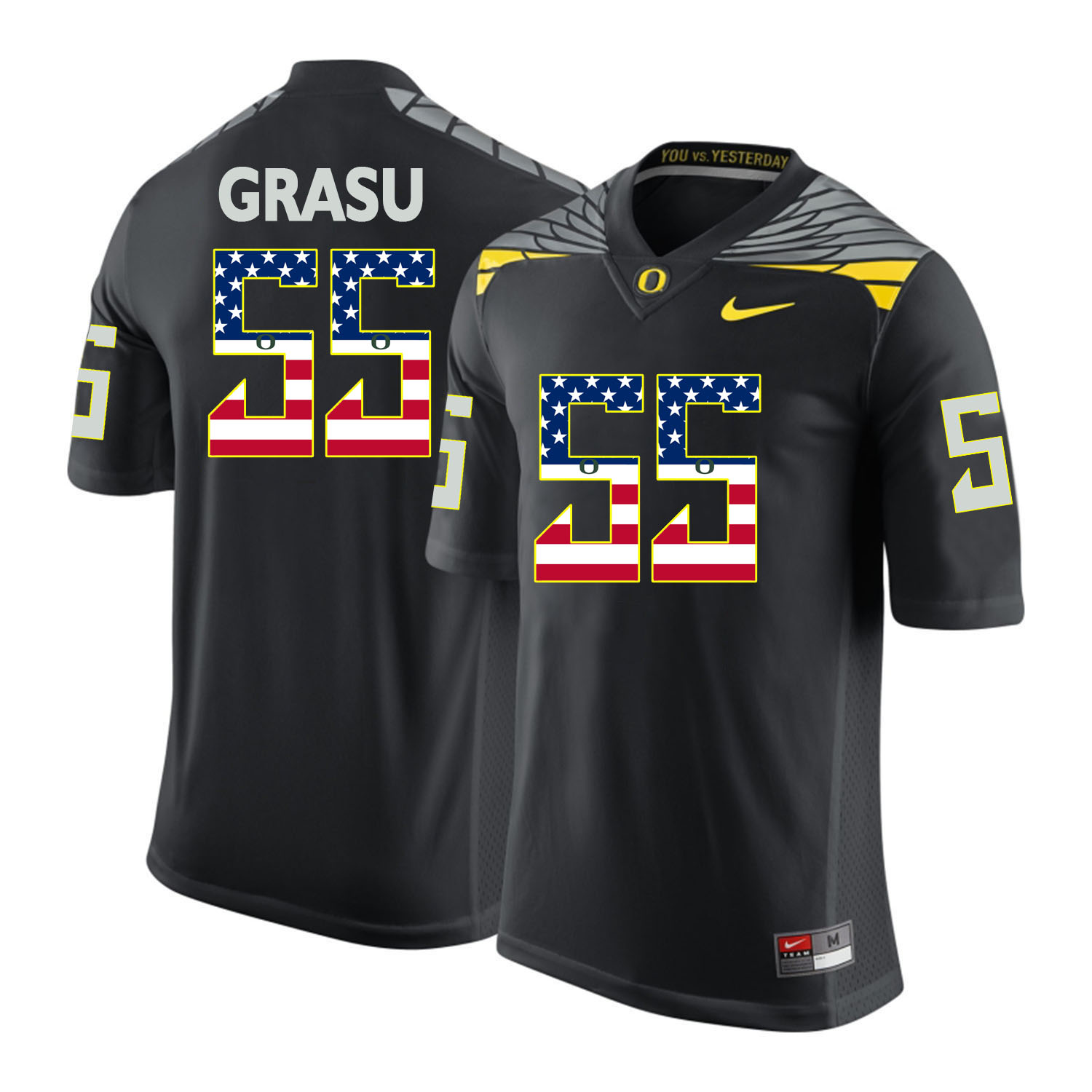 Oregon Ducks 55 Hroniss Grasu Black USA Flag College Football Jersey