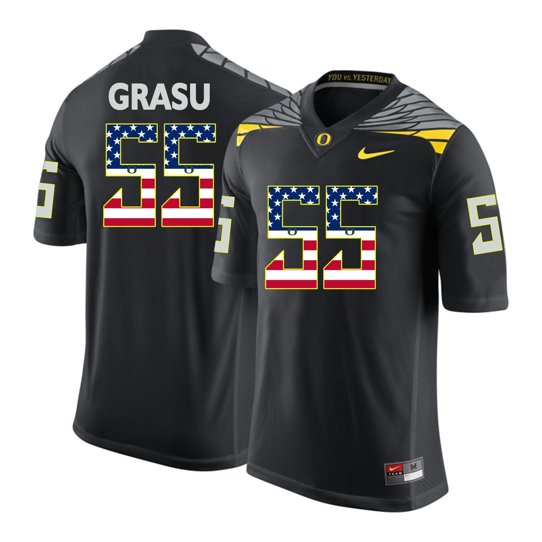 Oregon Ducks 55 Hroniss Grasu Black USA Flag College Football Jersey