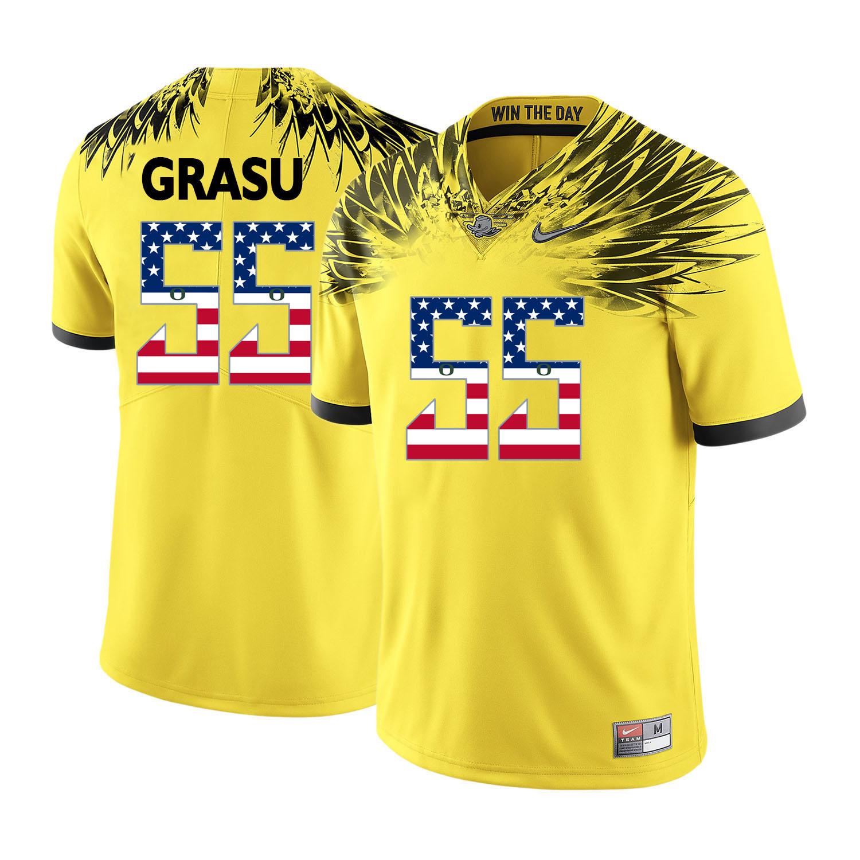 Oregon Ducks 55 Hroniss Grasu Yellow USA Flag College Football Jersey