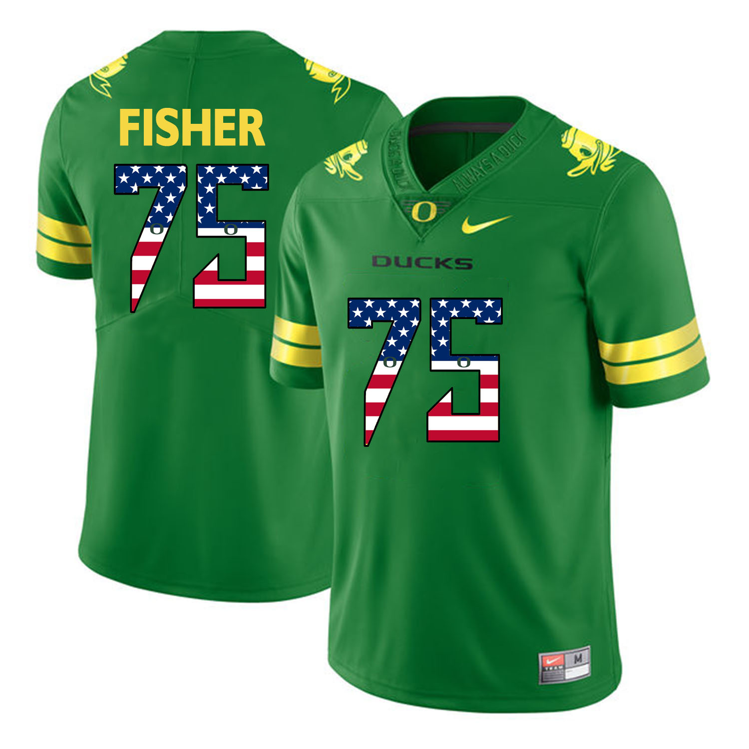 Oregon Ducks 75 Jake Fisher Apple Green USA Flag College Football Jersey