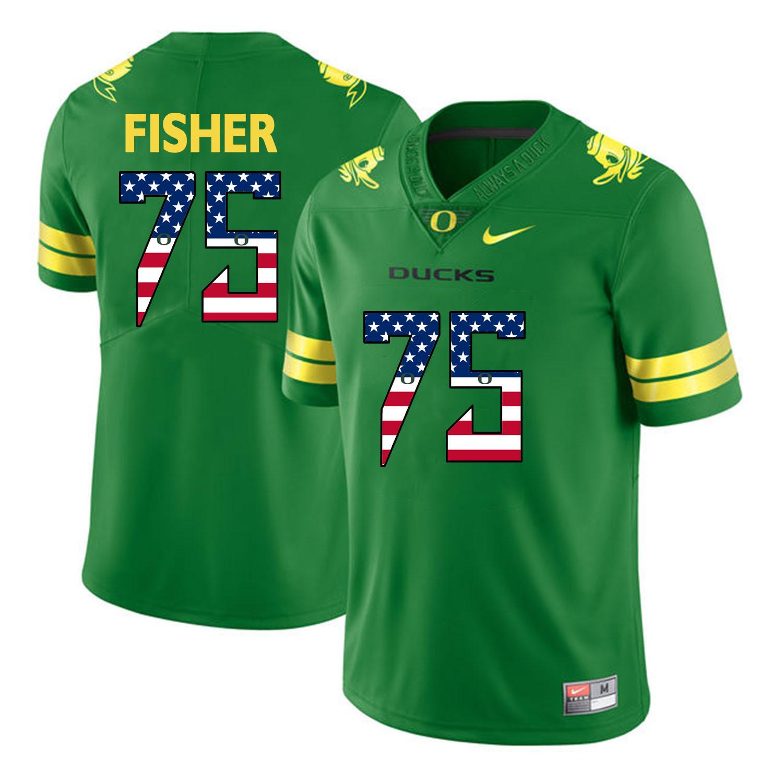 Oregon Ducks 75 Jake Fisher Apple Green USA Flag College Football Jersey