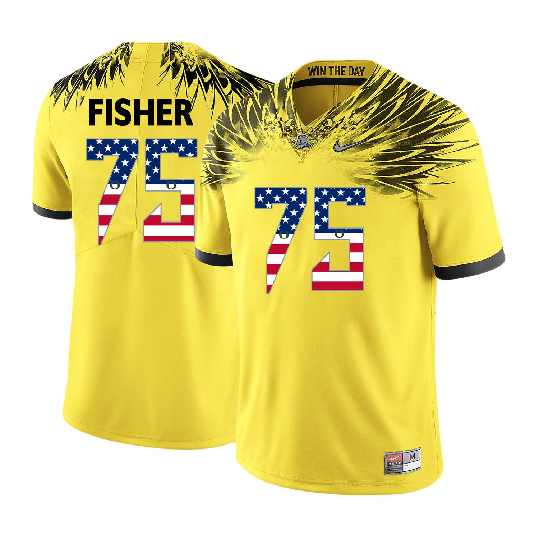 Oregon Ducks 75 Jake Fisher Yellow USA Flag College Football Jersey