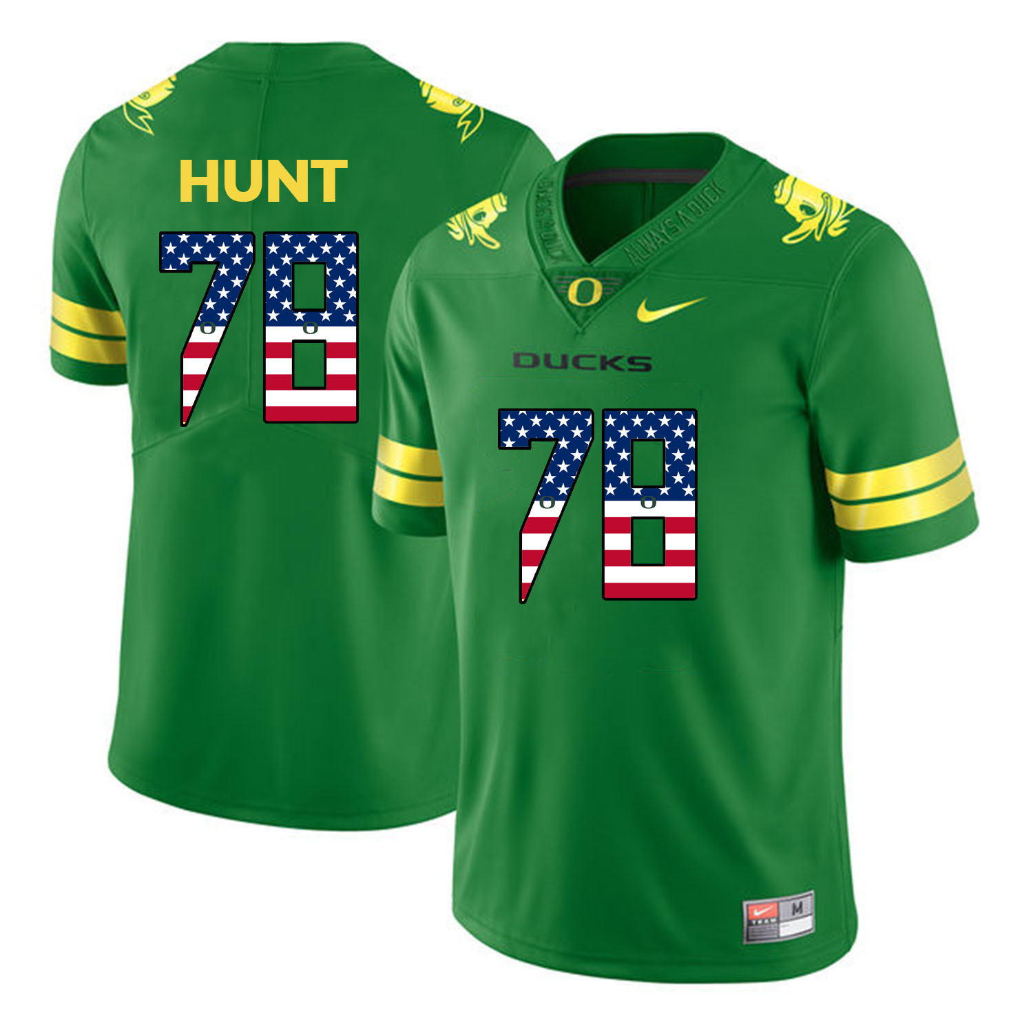 Oregon Ducks 78 Cameron Hunt Apple Green USA Flag College Football Jersey