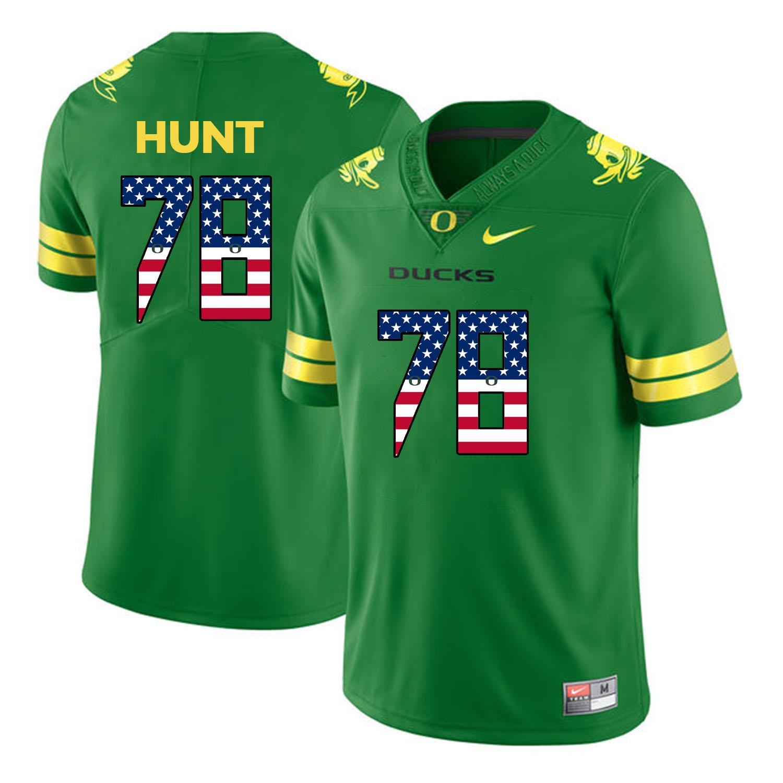 Oregon Ducks 78 Cameron Hunt Apple Green USA Flag College Football Jersey