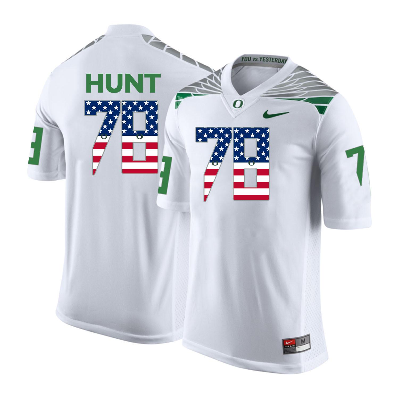 Oregon Ducks 78 Cameron Hunt White USA Flag College Football Jersey