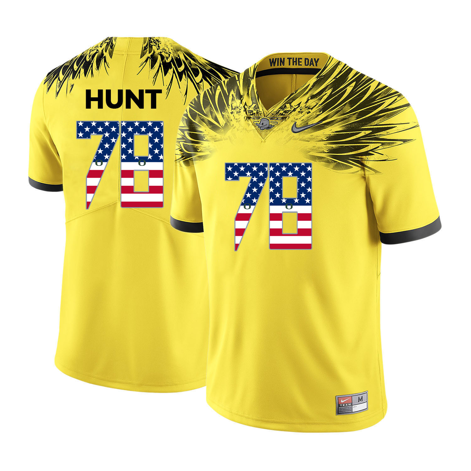 Oregon Ducks 78 Cameron Hunt Yellow USA Flag College Football Jersey