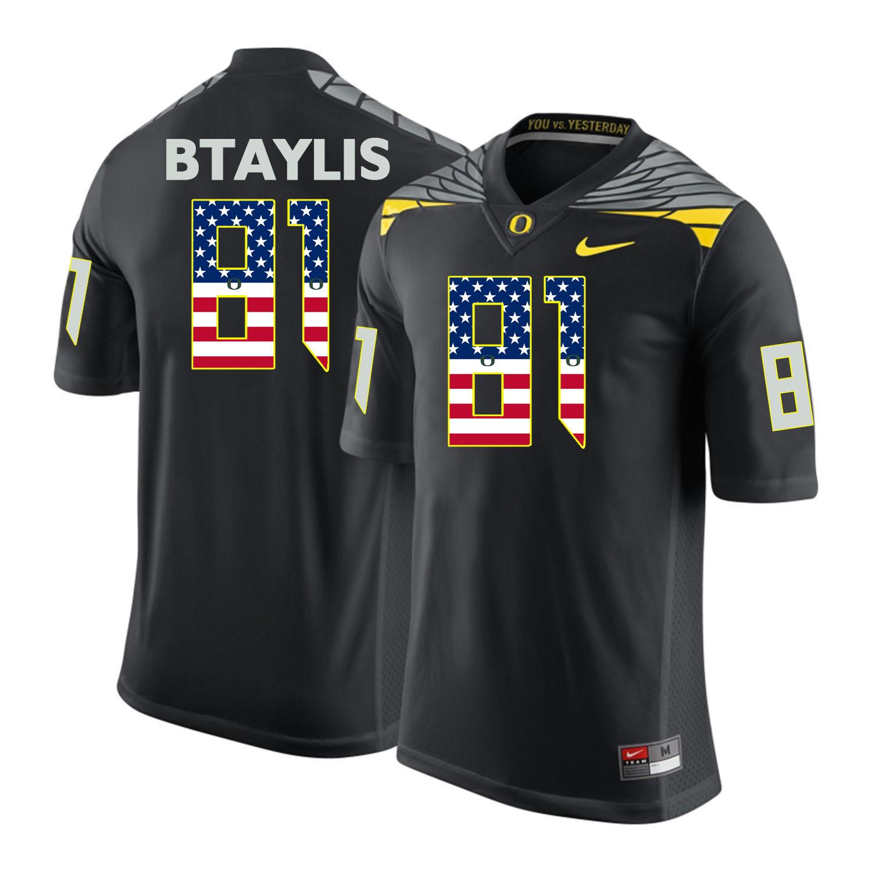 Oregon Ducks 81 Evan Baylis Black USA Flag College Football Jersey