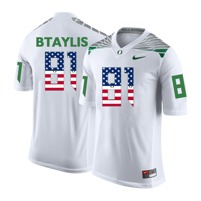 Oregon Ducks 81 Evan Baylis White USA Flag College Football Jersey