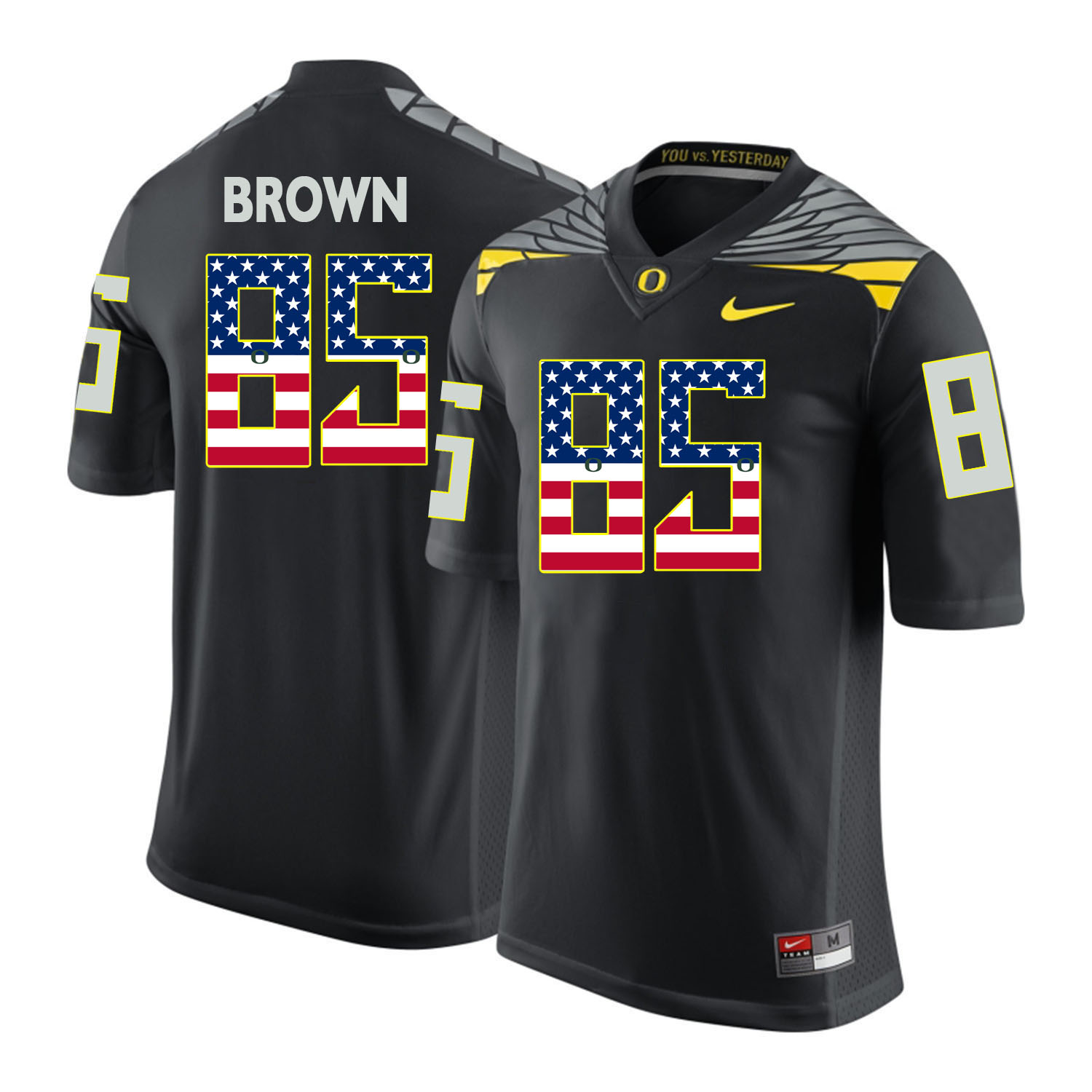 Oregon Ducks 85 Pharaoh Brown Black USA Flag College Football Jersey