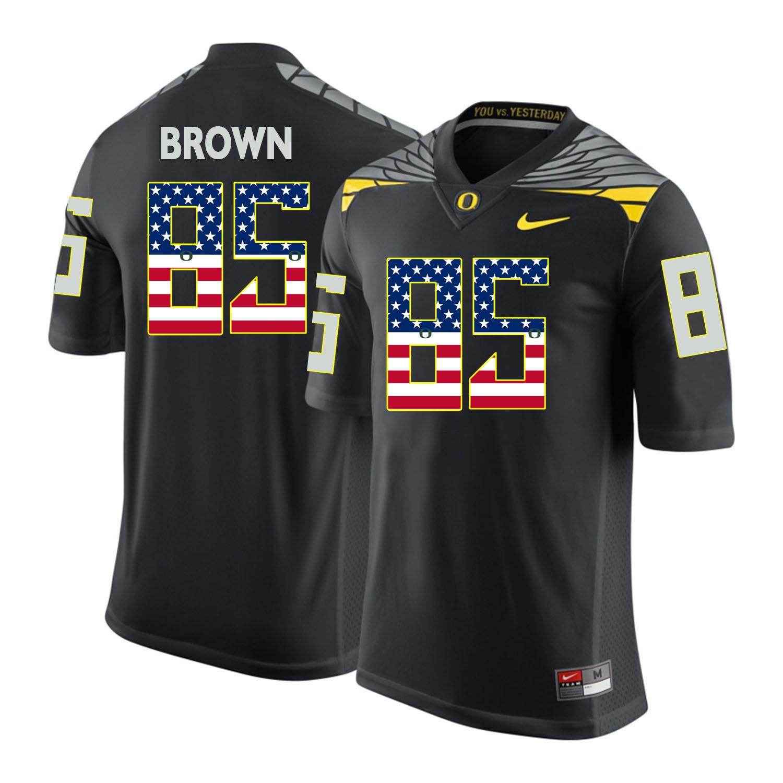 Oregon Ducks 85 Pharaoh Brown Black USA Flag College Football Jersey