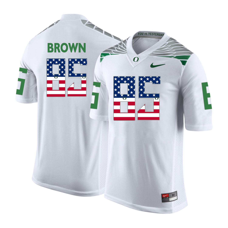 Oregon Ducks 85 Pharaoh Brown White USA Flag College Football Jersey